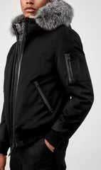 MACKAGE FULTON FUR-LINED MEN'S BOMBER JACKET W/ SILVERFOX FUR FULTON-XR-BLACK