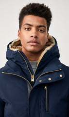 MACKAGE DIXON DOWN MEN'S BOMBER W/ REMOVABLE HOODED BIB & FUR TRIM DIXON-R-NAVY