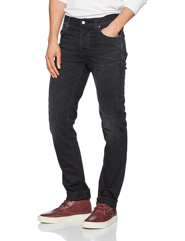 Nudie Jeans Mens GRIM TIM DEEP BLACK WORN 112551
