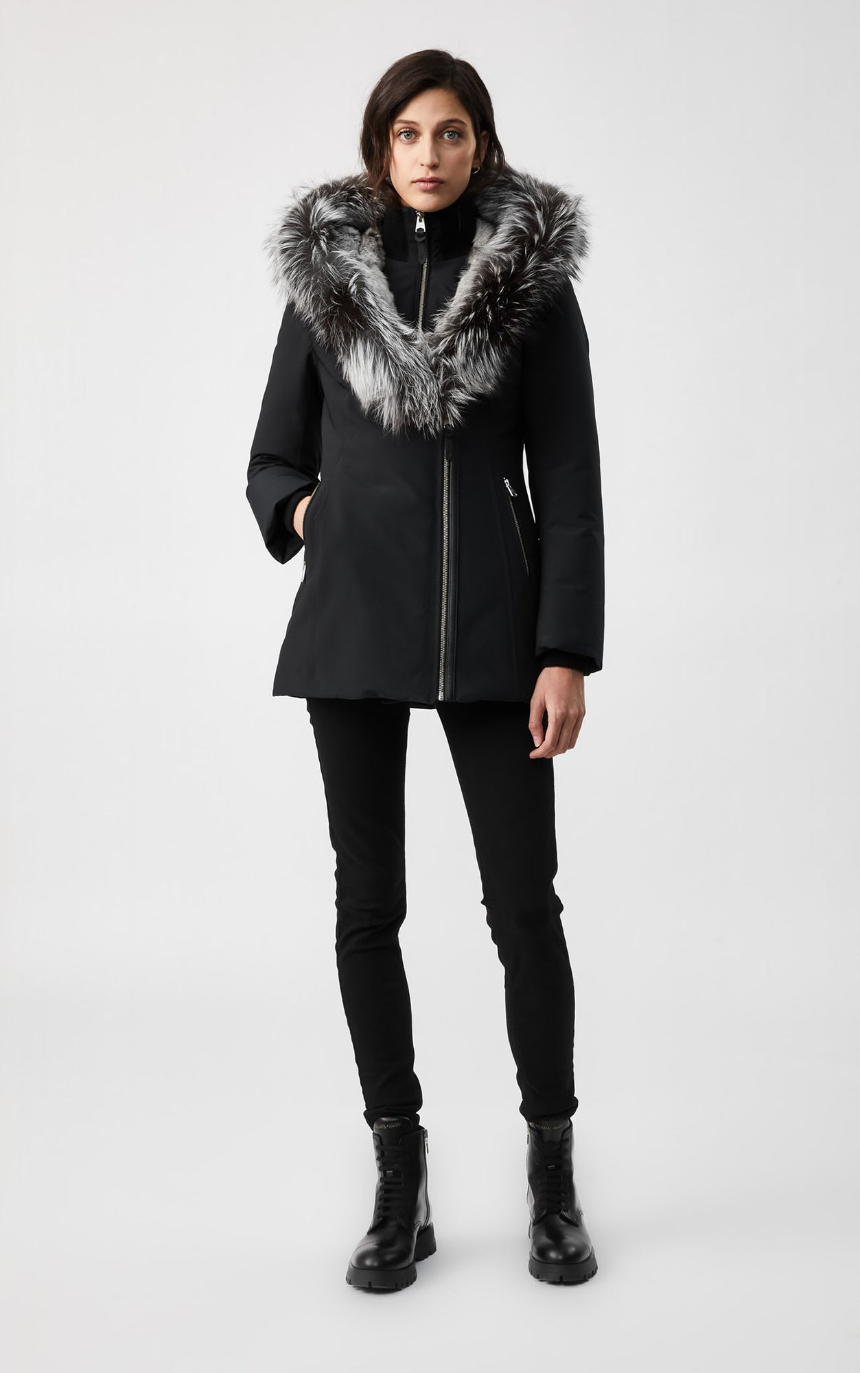MACKAGE AKIVA DOWN WOMEN'S COAT W/ SILVERFOX FUR TRIM COLLAR/HOOD AKIVA-XR-BL/SIL