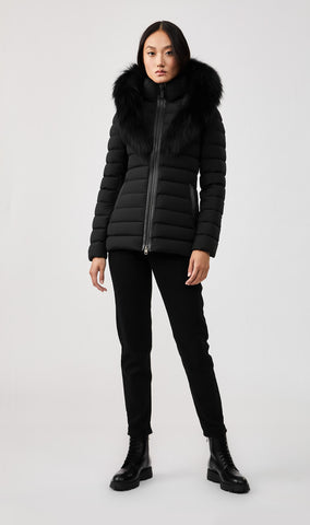 MACKAGE KADALINA DOWN WOMEN'S JACKET W/ SILVERFOX FUR COLLAR KADALINA-XR-BLACK