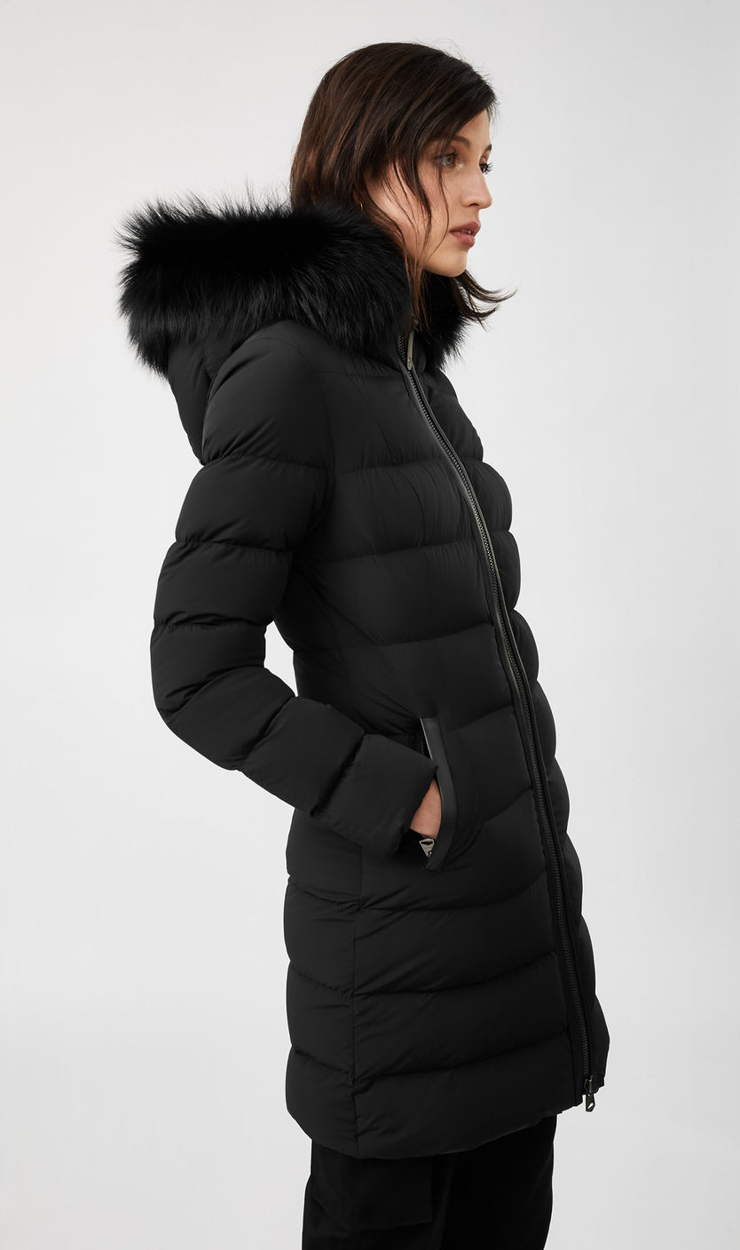 MACKAGE CALLA DOWN WOMEN'S COAT W/ REMOVABLE SILVERFOX FUR CALLA-X-BLACK
