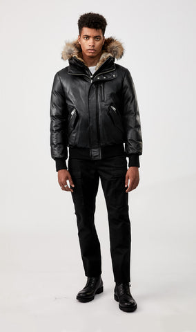 MACKAGE GLEN LEATHER DOWN MEN'S BOMBER W/ NATURAL FUR TRIM GLEN-R-BLACK