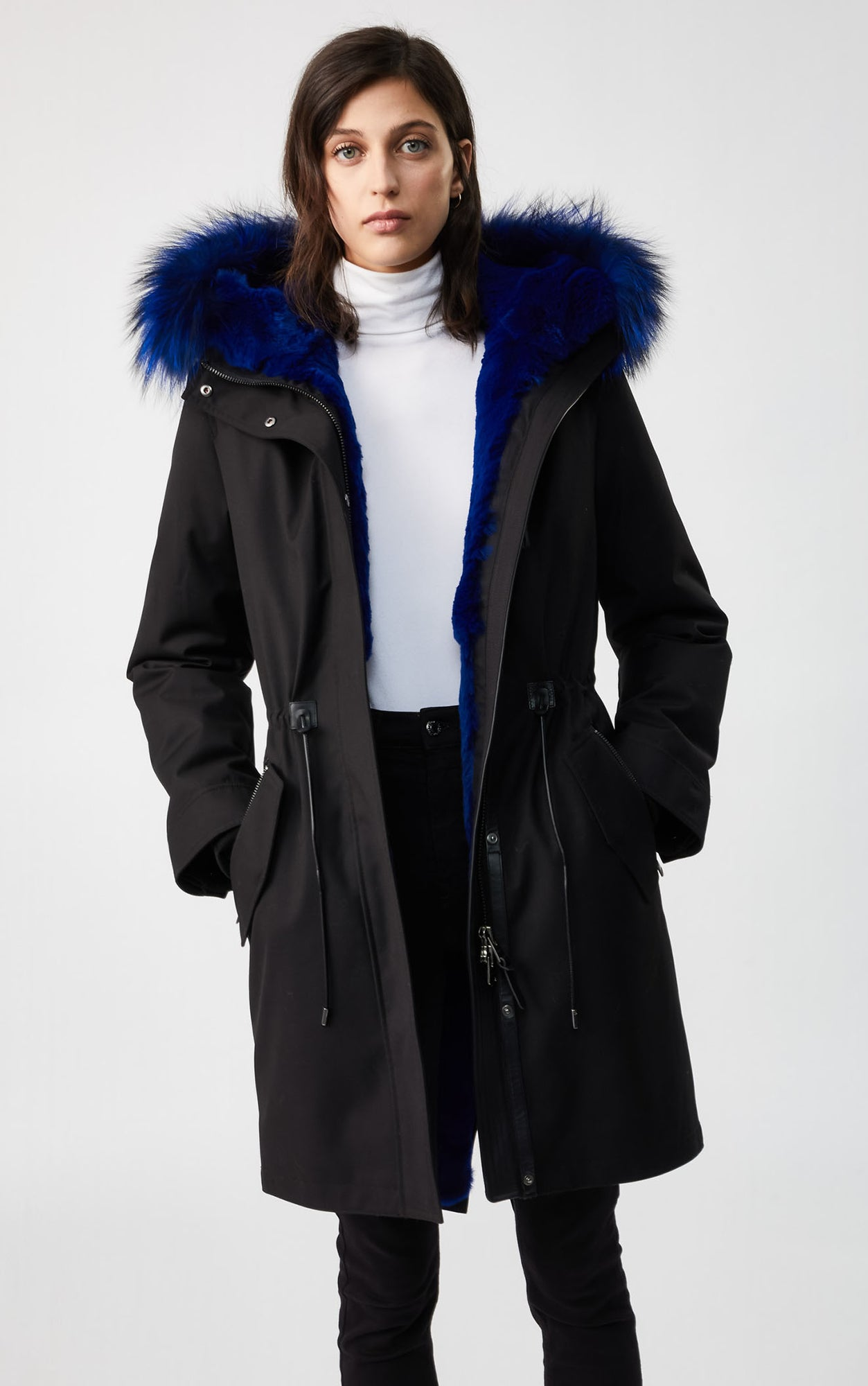 MACKAGE RENA FUR-LINED WOMEN'S PARKA W/ SILVERFOX FUR RENA-XR-BL/BLUE