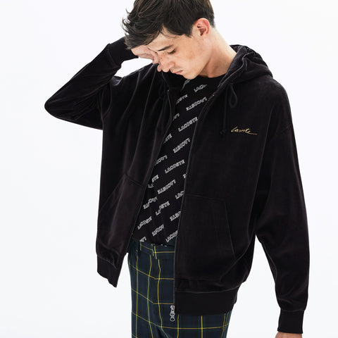 Lacoste LIVE Signature Hooded Velvet Zip Sweatshirt SH1442-51-031