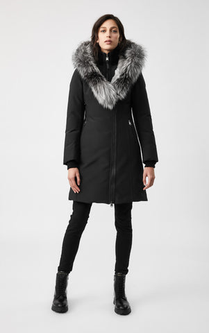MACKAGE TRISH DOWN WOMEN'S COAT W/ SILVERFOX FUR COLLAR TRISH-XR-BL/SIL