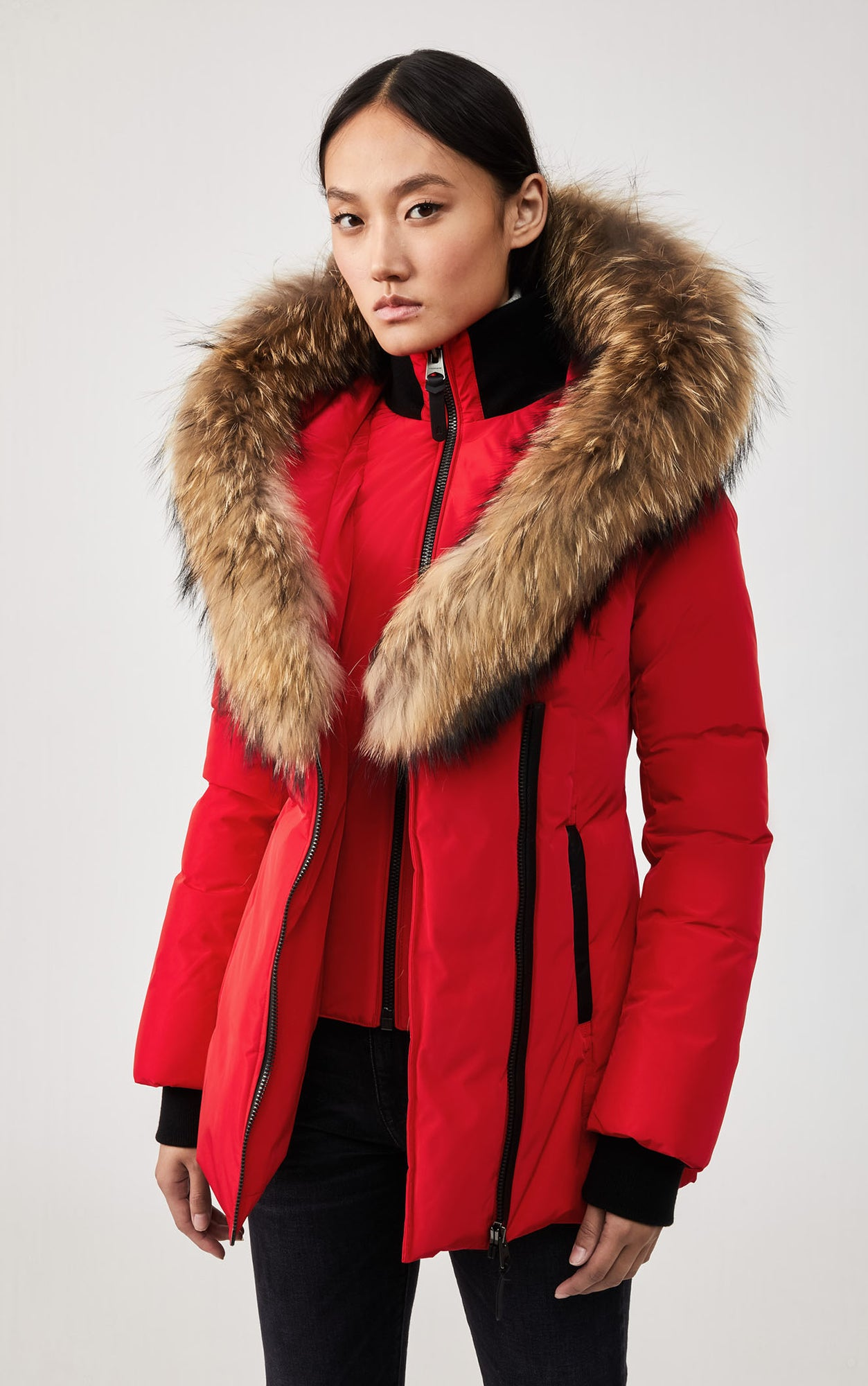 MACKAGE ADALI DOWN WOMEN'S COAT W/ NATURAL FUR COLLAR ADALI-R-RED