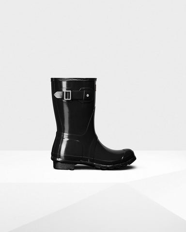 Hunter Women's Original Short Gloss Rain Boots WFS1000RGL-BLK