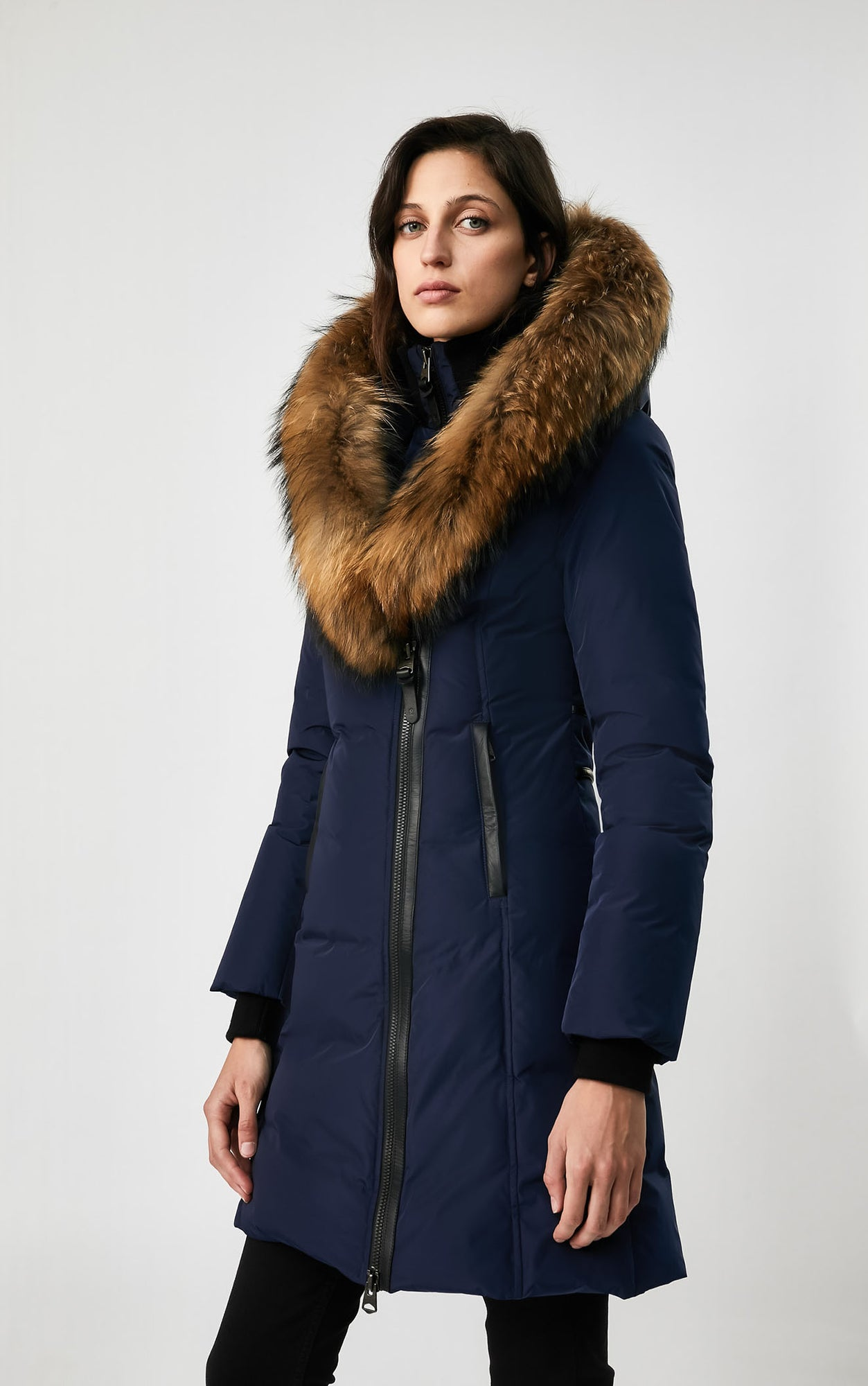 MACKAGE KAY DOWN WOMEN'S COAT W/ NATURAL FUR COLLAR KAY-R-NAVY