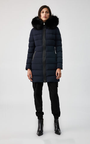 MACKAGE CALLA DOWN WOMEN'S COAT W/ REMOVABLE SILVERFOX FUR CALLA-X-NAVY