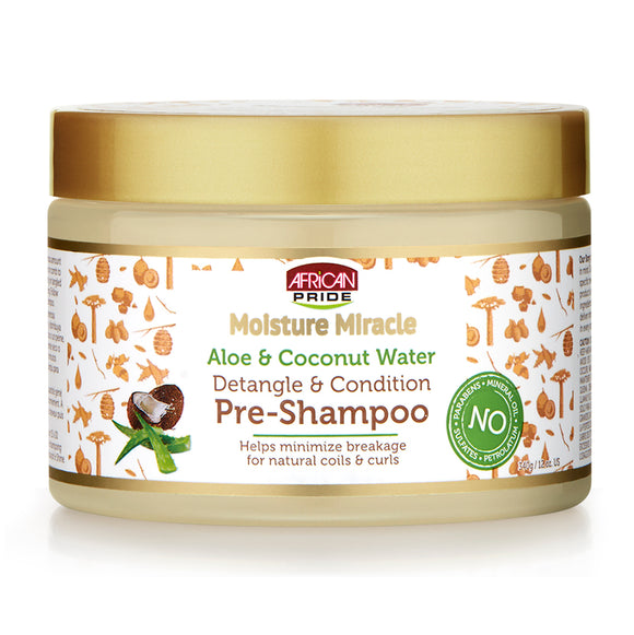 NEW AFRICAN PRIDE MOISTURE MIRACLE DETANGLE & CONDITION PRE-SHAMPOO 12 OZ W ALOE, COCONUT WATER 12 OZ
