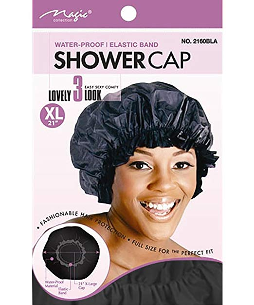 Magic Brand Waterproof Shower Cap w/ Elastic Band Extra Large - Black
