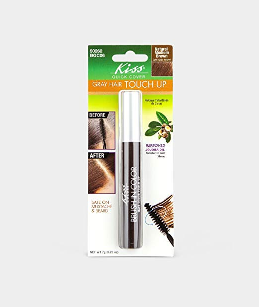 Kiss Quick Cover Gray Hair Touch Up Brush - Natural Medium Brown 0.25oz
