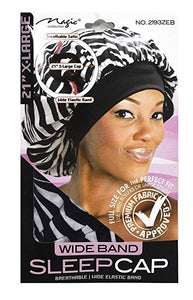 Magic Collection Wide Band Sleep Cap Zebra Pattern 21''