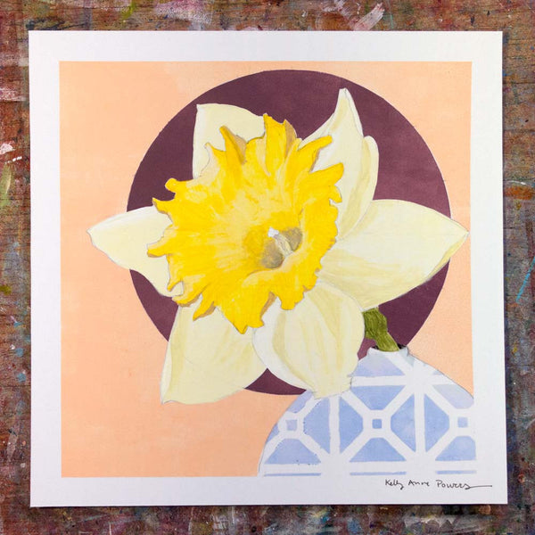 Floral Acrylic Daffodil Painting