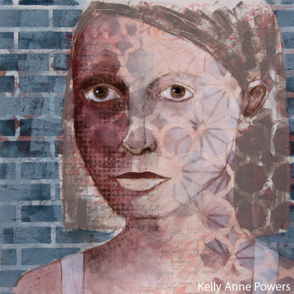 Mixed Media on Paper, Daily Portrait Painting, Kelly Anne Powers