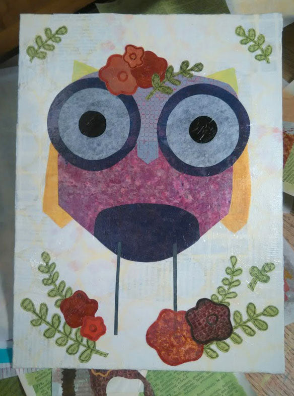 Mixed media acrylc collage owl.