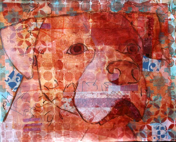 Mixed Media Dog portraits, Portland Oregon artist Kelly Anne Powers