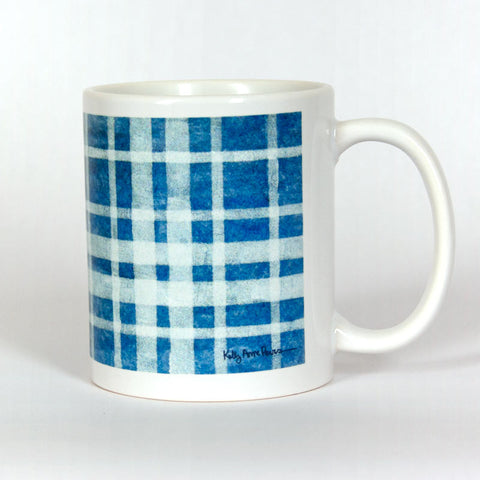 Blue Plaid Ceramic 11 oz Mug