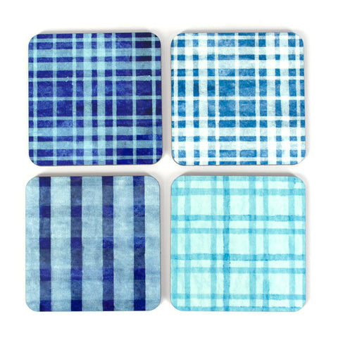 Blue Plaid Coaster Set