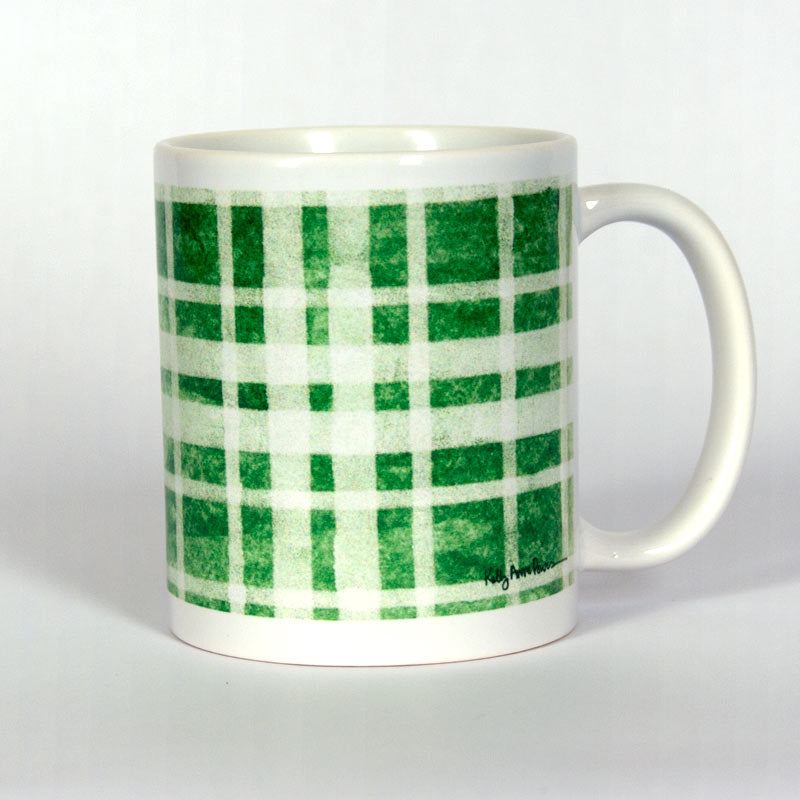Green Plaid Ceramic 11 oz Mug