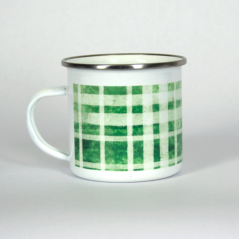 Green Plaid Camping 10 oz Mug