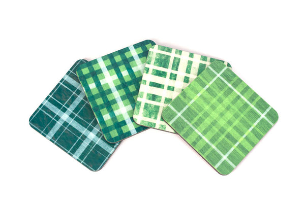 Green Plaid Coaster Set