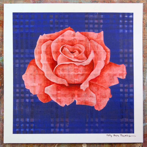 Plaid & Roses: Red & Ultramarine Blue