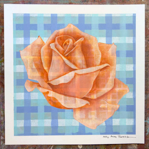 Plaid & Roses: Peach & Light Blue