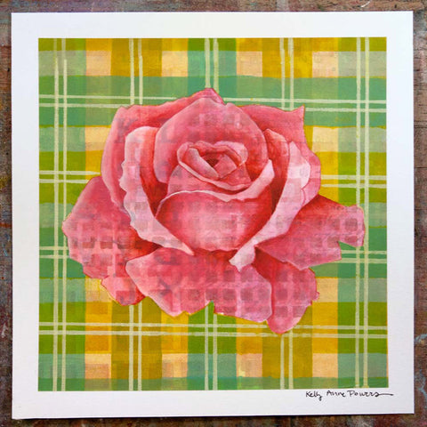 Plaid & Roses: Pink & Green Yellow