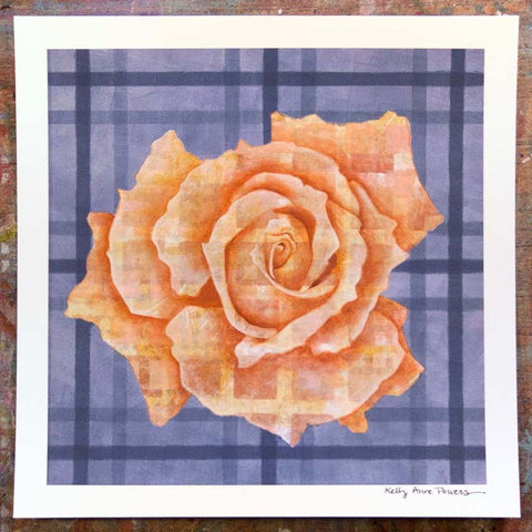 Plaid & Roses: Peach & Blue