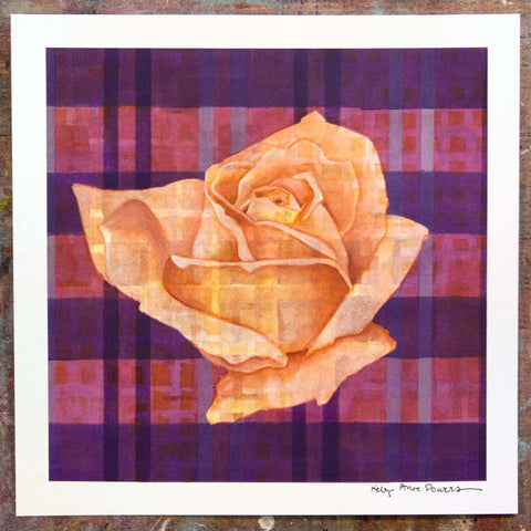 Plaid & Roses: Peach & Purple