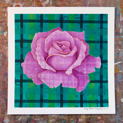 Plaid & Roses: Purple & Green 2
