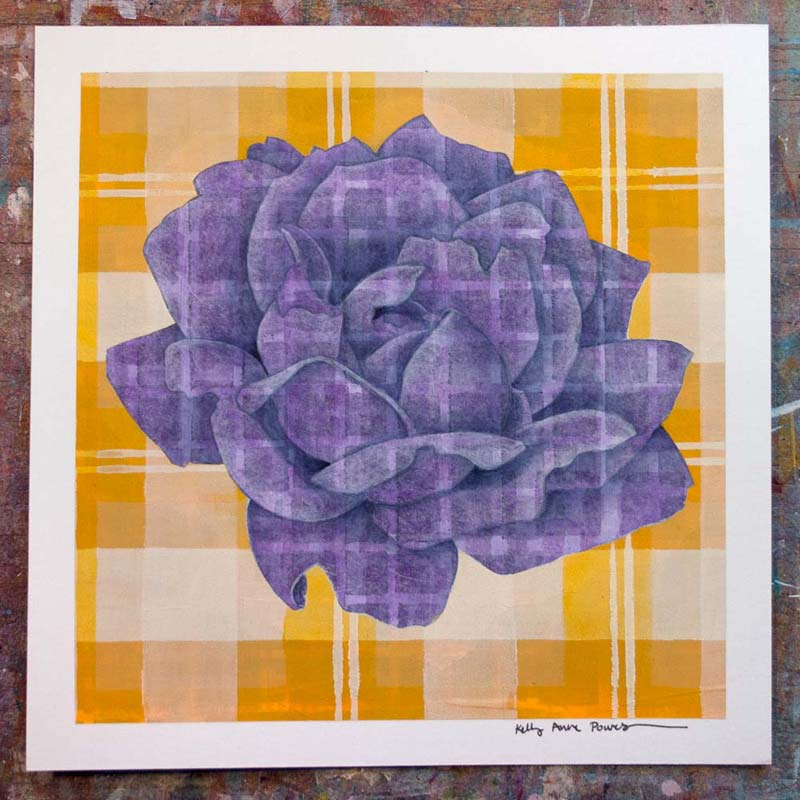 Plaid & Roses: Purple & Yellow 2