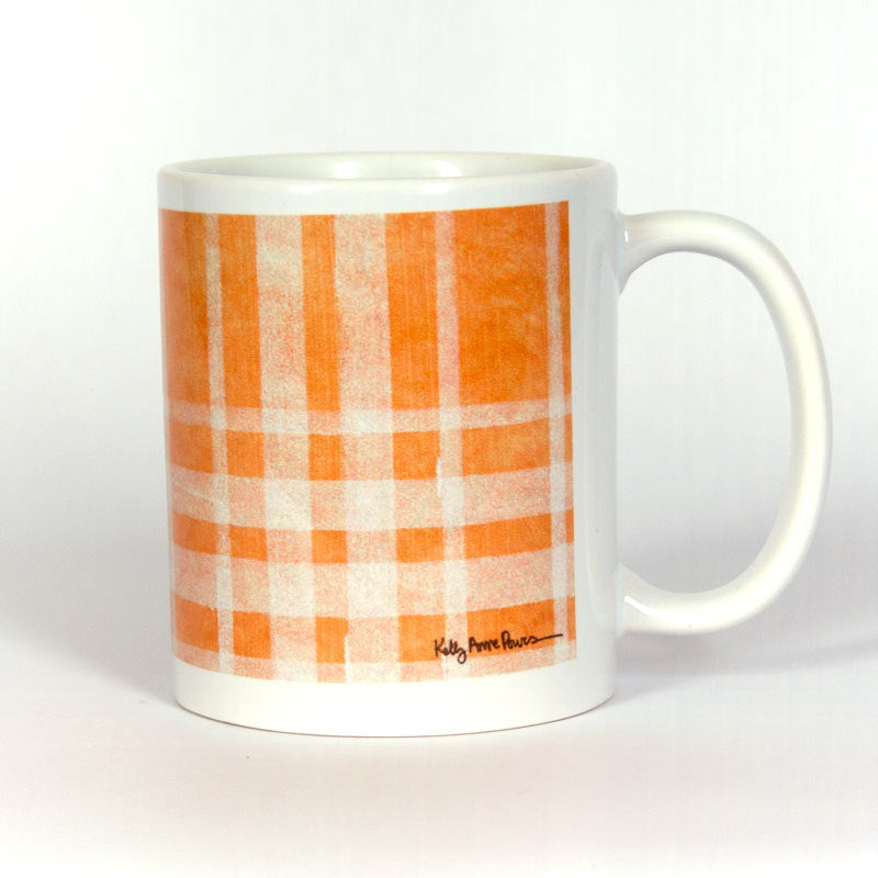 Orange Plaid Ceramic 11 oz Mug
