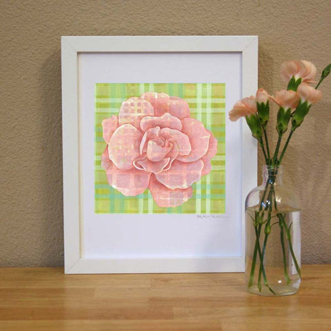 Plaid & Roses: Peach & Light Green Print