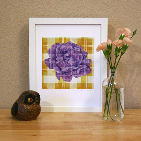 Plaid & Roses: Purple & Yellow 2 Print