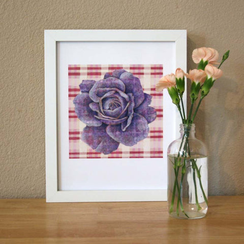 Plaid & Roses: Purple & Magenta Pinks Print