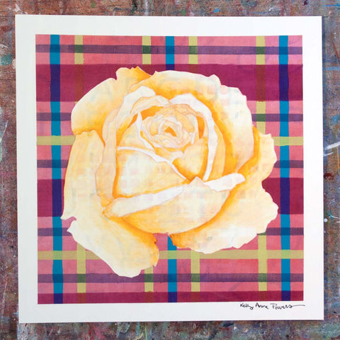 Plaid & Roses: Yellow & Magenta