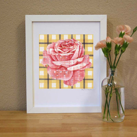 Plaid & Roses: Pink & Yellow 2 Print