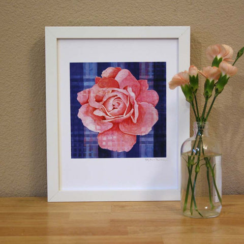 Plaid & Roses: Pink & Blue Print