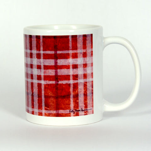 Red Plaid Ceramic 11 oz Mug