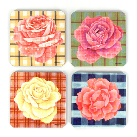 Plaid and Roses Coaster Set