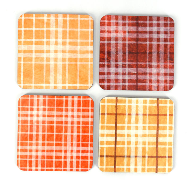 Red and Orange Plaid Coaster Set