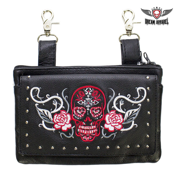 Studded Sugar Skull Naked Cowhide Leather Belt Bag