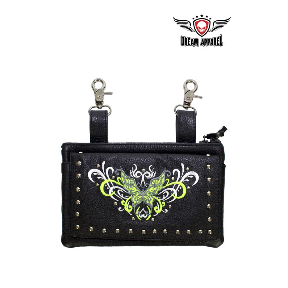 All Naked Cowhide Leather Lime Green Butterfly Belt Bag