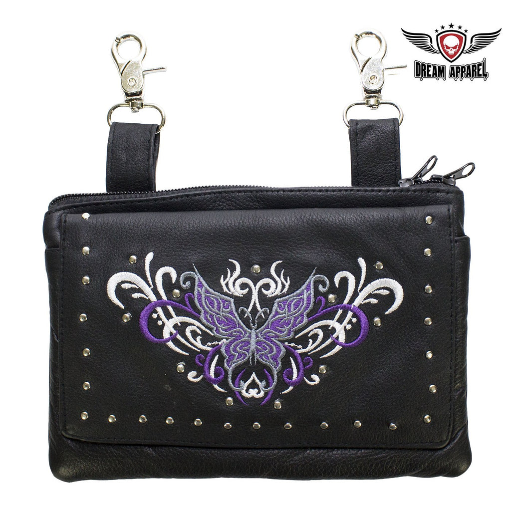 All Naked Cowhide Leather Purple Butterfly Belt Bag