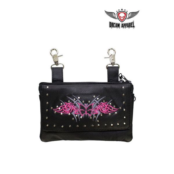 All Naked Cowhide Leather Hot Pink Butterfly Belt Bag