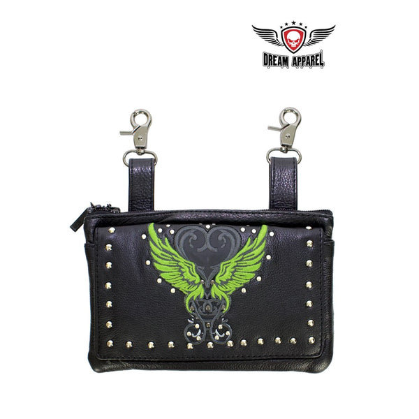 Studded Naked Cowhide Leather Belt Bag With Lime Green Wings