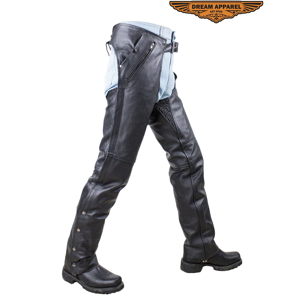 Biker Chaps Pants Naked Cowhide Leather with Side Zipper